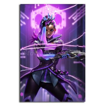 Sexy Girl Hero Sombra Of Overwatchs Canvas Painting Print Living Room Home Decor Modern Wall Art Oil Painting Poster No Frame