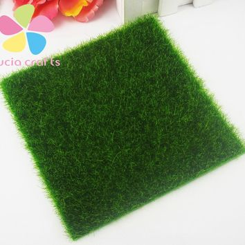 15*15cm Artificial Green Grass DIY Simulation Moss Garden Ornament decoration lawn micro landscape Craft 1piece/lot 027034010