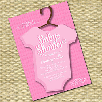 Baby Shower Invitation - Onesuit, Baby Boy, Baby Girl - ANY COLOR SCHEME