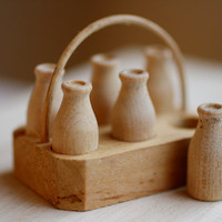 Miniature Milk Bottles and Crate. Doll House Scale Wood Bottles.