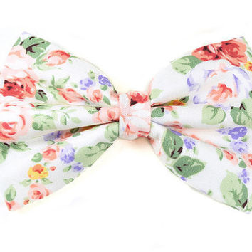 SALE Floral Bow - Hair Bows - Simple Bow - Accessories - Hair Accessories - Hair Bow Clip - Hair Bows for Girls -Hair bows for teens