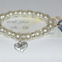 maid of honor bracelet - be my maid of honor - maid of honor gift - bridesmaids gifts - ask maid of honor - handmade bracelet