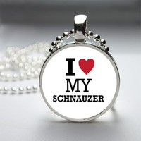 Photo Art Glass Bezel Pendant I Love My Schnauzer Dog Necklace