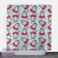 Cute Hedgehog Shower Curtain - Hedgehog with Coffee Pattern in Brown Pink and Blue - 71x74 - PVC liner optional - Made to Order