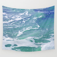 Mermaid Waters 2 - Wall Tapestry, Blue Green Ocean Water Sea Wall Art Hanging, Beach Surf Bohemian Throw Cover. In 51x60 68x80 88x104 Inch