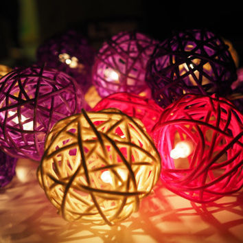 Handmade White Pink Purple Rattan ball String Lights Fairy lights Party Decor Wedding Garden Spa and Holiday Lighting