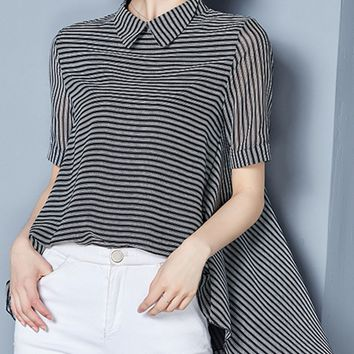 Streetstyle  Casual Doll Collar Striped High-Low Blouse