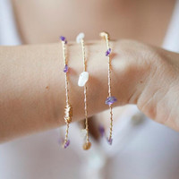 Amethyst and Moonstone Bangle Bracelet Set made with Recycled Guitar Strings - Great for LSU Lovers