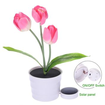 New 3 LEDs Solar Powered artificial flower LED Lawn Night Lamp Waterproof IP65 Light Sensor for Holiday Garden&Home Office Decor