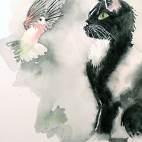 Black Cat Painting - Watercolor Painting Print - Tuxedo Cat Art Black White Home Decor Hummingbird Bird Ash Grey - 5 x 5 in to 10 x 10 in