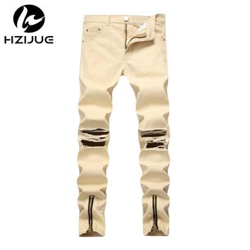 HZIJUE Men Jeans Stretch Destroyed Ripped Design Fashion Ankle Zipper Skinny Jeans For Men Brand Fashion Men's Hip Hop Joggers