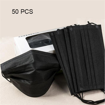 50pcs/set Non Woven Fabric Black Disposable Face Mask Medical Mask Earloop Anti-Dust Surgical Mouth Masks Anti-fog Respirator