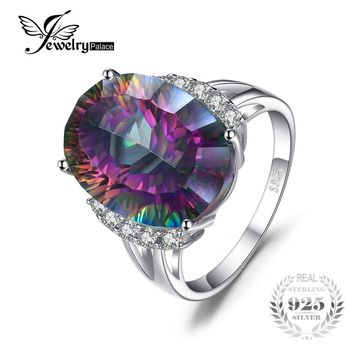 Antique 13ct Rainbow Fire Mystic Topaz Brand New Genuine Solid 925 Sterling Silver Ring Vintage Fashion Jewellry For Women