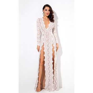 Bad Blood White Lace Long Sleeve Plunge V Neck Double Front Slit Maxi Dress