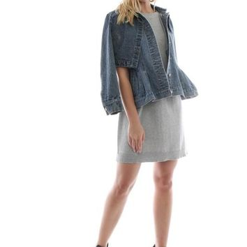 Cape Peplum Denim Jacket