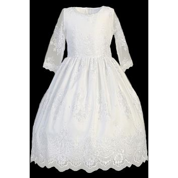 Floral Damask Lace Girls Communion Dress w. Sheer 3/4 Sleeves 6-12