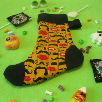 Witch's Sock - Halloween Candy and Treat Stocking - Vampires 'Stache - Black  & Orange Stocking