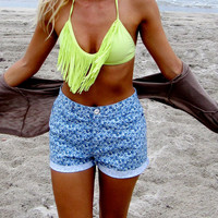Highwaisted Floral Shorts Cutoff ON SALE