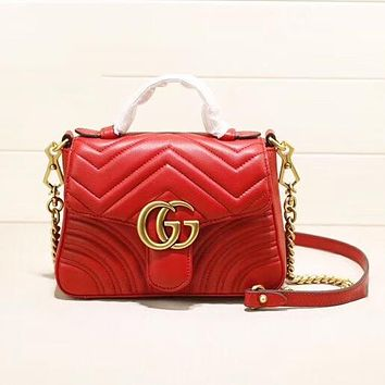 GUCCI Fashion New Leather Shoulder Bag Shopping Leisure Women Red