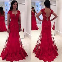 Long Sleeve Backless Lace Red Prom Dresses,Prom Dress