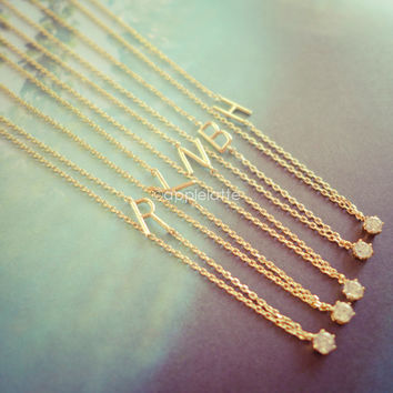 sideways initial necklace in gold, alphabet necklace, personalized necklace