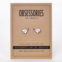 Paper Plane Stud Earring Paper Airplane Origami Drawing Sketch Doodle Plane Jewelry Plane Accessories Quirky Kitschy Kitsch Plane Gift Idea