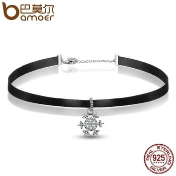 Authentic 100% 925 Sterling Silver Snowflake Pendant Black Choker Necklace Women Fashion Jewelry SCA011+PAS042