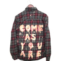 "Nirvana Flannel Shirt ""Come As You Are"" in Grey/Rec Plaid"