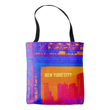 New York City Bridge View Blue, Pink and Orange Tote Bag
