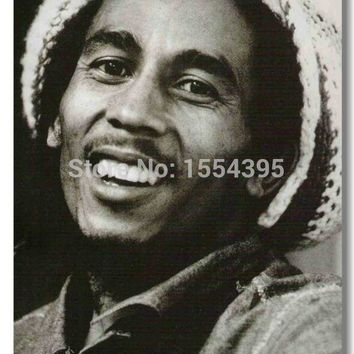 Custom Bob Marley  Smile Music Modern Poster Fashion Stylish Home Decor Retro Bedroom High Quality (20x30) Wall Sticker U1-565