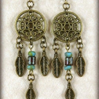 Dreamcatcher Earrings - Petite Size Dream Catcher - Brass with Burgundy and Turquoise
