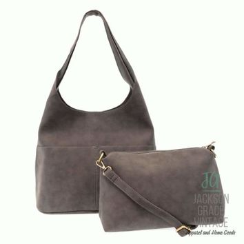 Light Grey Sueded Hobo Tote