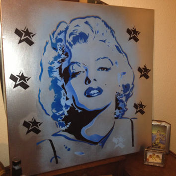 marilyn monroe painting,silver star,pop art,stencil art,graffiti art on 30 by 30 inch canvas,icon,50s,stars,wall art,film,portrait