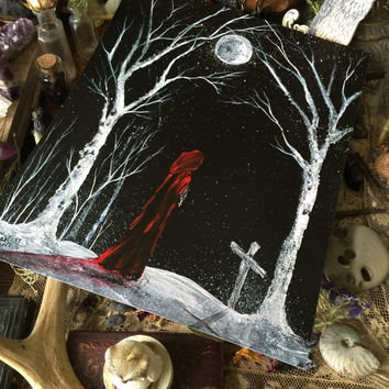 Art Print 8x10 from Original Painting Cat Girl Pagan Moon Witch Wiccan Witchcraft Cat Halloween Gothic Folk Terri Foss