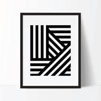 Geometric Print, Stripe Print, Black And White, Modern Print, Digital Download, Printable Wall Art