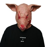 Custom Scary Cosplay Costume Latex Mask Full Head Halloween Saw Boar Pig Head