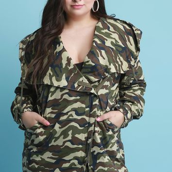 Camouflage Hooded Anorak Jacket