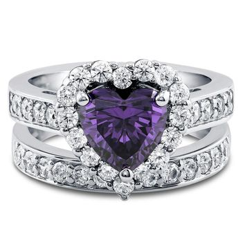 Amethyst 1.9CT Heart Cut Russian Lab Diamond Halo Bridal Set Ring