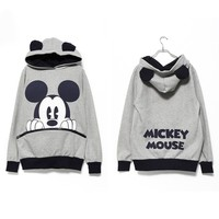 GREY MICKEY MOUSE HOODIE WITH CUTE EARS
