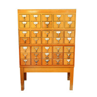 RESERVED for KATE   Card catalog cabinet, Library, 35 drawers with stand, brass, wood, vintage card file, organizer