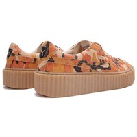 Puma By Rihanna - Women's Fenty Suede Creepers Camo (Orange/Oatmeal)