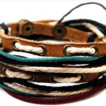 wrap leather bracelet, ropes bracelet, women leather bracelet,men leather bracelet,graduation gift, friendship gift  D0328