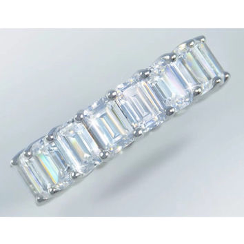 8ct Emerald Cut Lab Created Diamond Eternity Band