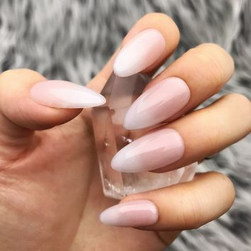 Baby Boomer Acrylic Pink White Ombre Press On Nails | Any Shape | Fake Nails | False Nails | Glue On Nails | The Nailest