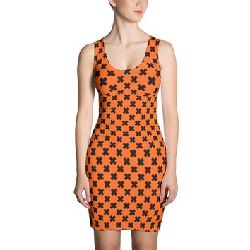 Halloween Orange and Black X Dress