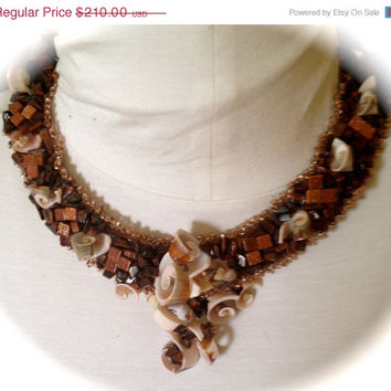 ON SALE Beaded Necklace, Shell Pieces, Goldstone Cubes, Tiger Eye Nuggets