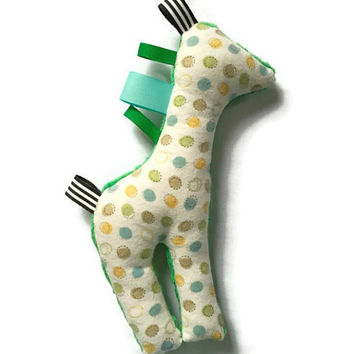 Plush Giraffe with Tags, Stuffed Animal, Sensory Giraffe Toy, Minky Dot, Baby Shower Gift, Green Giraffe, Giraffe with Tags