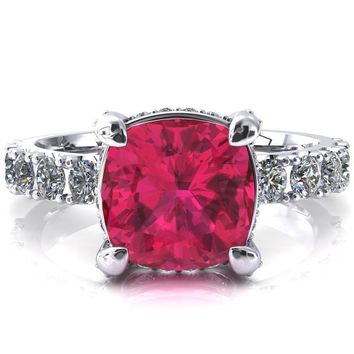 Grandeur Cushion Ruby 4 Prong Basket and Half Eternity Fire Ring