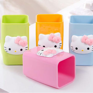 Cartoon Candy Color Hello Kitty Melamine Coffee Milk Tea Mug Cup Children Toothbrush Holder