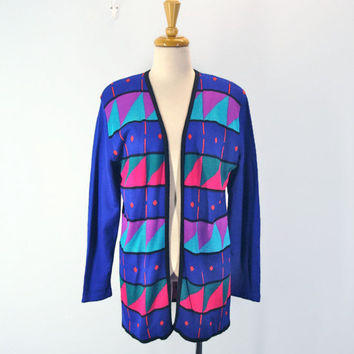80s bright abstract long SWEATER jacket geometric cardigan
